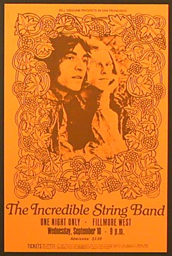 Incredible String Band. Filmore West  Sept 10 1969